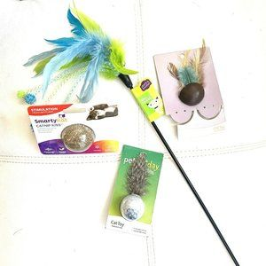 NEW 4 Cat Toy Bundle - Wand, Teaser, Balls, & More
